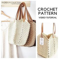 Ravelry: Soft Rope Tote Bag pattern by Andrea Marton Bag Patterns To Sew, Tote Pattern, Sewing Patterns, Crochet Patterns, Coin Purse Tutorial, Pouch Tutorial, Crochet Handles, Diy Handbag, Crochet Tote