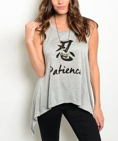 Love this Forever Lily Gray 'Patience' Sidetail Tank by Forever Lily on #zulily! #zulilyfinds
