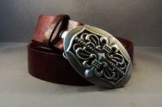 Brown Leather Belt With Antique Silver Buckle by 4MLeatherDesign, $72.00