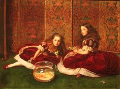 John Everett Millais- Leisure Hours, Signed in monogram and dated 1864 lower left. Oil on canvas 33 ½ x 45 ½. Leisure Hours is a portrait of Anne and Marion Pender, daughters of Sir John Pender. By the Pre-Raphaelite Brotherhood was dead and. Dante Gabriel Rossetti, Southampton, John Everett Millais, From Paris With Love, Pre Raphaelite Paintings, Illustration Photo, Oil Canvas, Pre Raphaelite Brotherhood, Baronet