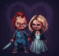 Horror Movie Art : Bride Of Chucky 1998 by Samhain Horror Cartoon, Horror Icons, Zombie Disney, Horror Movie Characters, Horror Movies, Comedy Movies, Halloween Horror, Halloween Art, Chucky Drawing