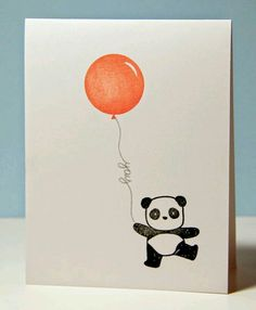 Pandamonium, Mama Elephant, could use handwritten borders for balloon strings, SSS, Amusing Michelle: A bunch of pandas Watercolor Birthday Cards, Birthday Card Drawing, Watercolor Cards, Bday Cards, Funny Birthday Cards, Panda Birthday, Diy Birthday, Mama Elephant Stamps, Panda Party