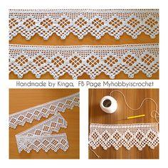 "Ravelry: Myhobbyiscrochet's Crochet edging ""from a chart found on the internet"". Photo only, but the chart is here: [http://crochet-plaisir.over-blog.com/tag/bordures%20d'etageres/] (Bordure d'étagère aux liserés rouges)"