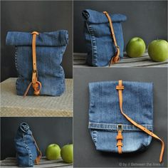 etsy:  A genuis DIY: turn the leg of an old pair of jeans into a handy lunch bag. Check it out here»Lunchbroek» Veetje.