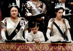 Queen Elizabeth, the Queen Mother, Prince Charles, and Princess Margaret at the Coronation of Queen Elizabeth II, in 1953.