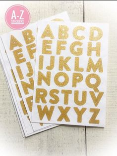 Alphabet Stickers - Gold Glitter http://julietenglish.com/products/alphabet-stickers-glitter-stickers-gold-letters-letters-stickers-130-stickers-self-adhesive-a-z-new-embellish?utm_campaign=crowdfire&utm_content=crowdfire&utm_medium=social&utm_source=pinterest