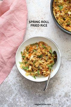 1 Pot, 30 Minute Veggie Spring Rolls Fried Rice! Fridge clean up fried rice with cabbage, carrots, bell pepper, with rice or other cooked grains for a quick weeknight meal. Vegan Gluten-free Nut-free Recipe