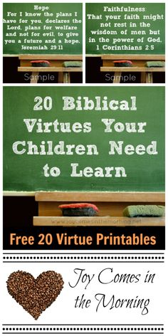 20 Biblical Virtues Your Children Need to Learn: Free 20 Virtue Printables Bible Lessons For Kids, Bible For Kids, Raising Godly Children, Raising Kids, Teaching Kids, Kids Learning, Just In Case, Just For You, Train Up A Child