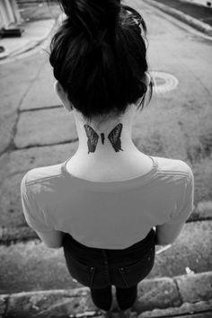 brand new eyes, butterflies, hayley williams, jeremy davis   #tattoo #girls #neck www.loveitsomuch.com