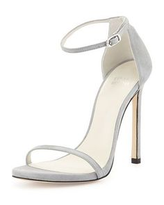 Nudist Suede Ankle-Strap Sandal, Mist by Stuart Weitzman at Bergdorf Goodman.
