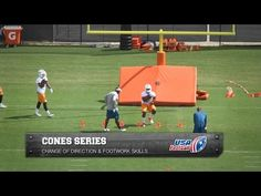 Cone drills to help backs and receivers build footwork - YouTube