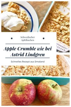 Swedish Apple Crumble: apple cake with crumbly dough like .- Schwedischer Apple Crumble: Apfelkuchen mit Krümelteig wie bei Astrid Lindgren Recipe for a Swedish Apple Crumble: To bake an apple pie with crumbly dough quickly bake Cake - Desserts Sains, Apple Crisp Recipes, Healthy Dessert Recipes, Apple Pie, Sweet Recipes, Crockpot Recipes, Food And Drink, Baking, Muffins