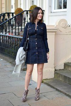 Warehouse Denim flare dress - lafotka fashion blogger
