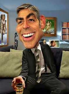 Funny Celebrity Caricatures George Clooney..FOLLOW THIS BOARD FOR GREAT CARICATURES OR ANY OF OUR OTHER CARICATURE BOARDS. WE HAVE A FEW SEPERATED BY THINGS LIKE ACTORS, MUSICIANS, POLITICS. SPORTS AND MORE...CHECK 'EM OUT!! http://www.pinterest.com/acontornosr/
