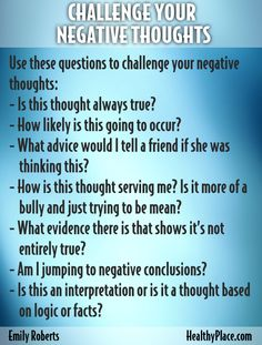 """Negative thoughts, self-talk, is harmful to building self-esteem and confidence. Learn to use a thought log to get rid of unhelpful negative thoughts."" www.HealthyPlace.com"