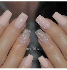 A manicure is a cosmetic elegance therapy for the finger nails and hands. A manicure could deal with just the hands, just the nails, or Pink Glitter Nails, Cute Acrylic Nails, Fancy Nails, Cute Nails, Pretty Nails, Nail Pink, Gliter Nails, Pink Sparkles, Blush Pink Nails