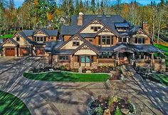 "Love this house! The Craftsman style says ""down to earth"" but the house is beyond elegant. Dream House Plans, House Floor Plans, Luxury House Plans, Dream Home Design, My Dream Home, Huge Houses, Dream Houses, Craftsman House Plans, Craftsman Style"