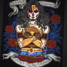 Day of the Dead Wonder is pretty much done. Just details and some minor color tweaks. #dayofthedead #delosmejores #dialosmuertos #sugarskull #wonderwoman #comics #heroine #hero #onebluebirdart #onebluebird #wip #illustration #print #tattoo #cintiq...