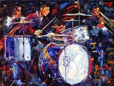 "Abstract Jazz Art , Music Art Paintings, Instruments,Drums,""Buddy Rich"" by Texas Artist Debra Hurd © Debra Hurd-This painting is SOLD, but Commissions are Welcome!!"