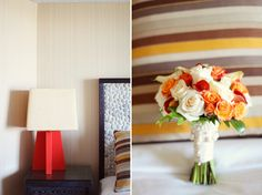 orange, red, white bouquet