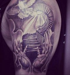 What Tattoo Cream Really Gets Rid of Tattoos? Stairs To Heaven Tattoo, Gates Of Heaven Tattoo, Heaven Tattoos, Heavens Gate Tattoo, Biker Tattoos, Dope Tattoos, Trendy Tattoos, Body Art Tattoos, Tattoo Drawings