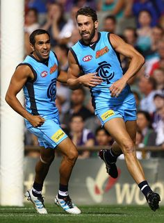 Andrew Walker of the Blues celebrates a goal with Eddie Betts during the round five AFL match between the Fremantle Dockers and the Carlton Blues at Patersons Stadium on April 27, 2012 in Perth, Australia.