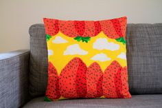 Marimekko Mansikkavuoret pillow cover in yellow by lanuitduhusky