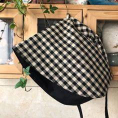 블랙체크 보넷 : 네이버 블로그 Bonnet Hat, Ear Warmers, Sewing Clothes, Turban, Traditional, Quilts, Crochet, Hats, Womens Fashion