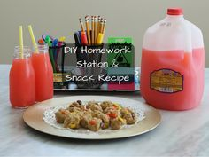 DIY Homework Station & Snack Recipe for Peanut Butter Snack Balls  #SchoolisCoolWithTampico   #ad @tampicoofficial