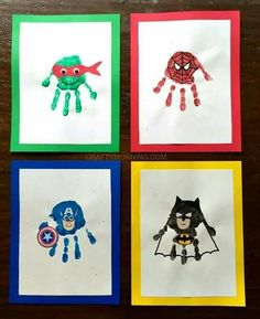Amazing Superhero Handprint Crafts for Kids (Ninja turtles, spiderman, captain america, batman and more!) - Crafty Morning - Visit to grab an amazing super hero shirt now on sale! Crafts For Boys, Baby Crafts, Toddler Crafts, Crafts To Do, Preschool Crafts, Toddler Activities, Projects For Kids, Art For Kids, Super Hero Activities