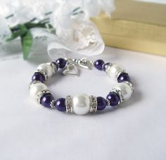 Bracelet Deep Purple And White Czech Pearl Bracelet with Rhinestone Rondelles