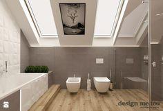 DOM W LESZNOWOLI - Duża łazienka na poddaszu w domu jednorodzinnym jako salon kąpielowy z oknem, styl nowoczesny - zdjęcie od design me too