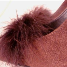 Brown faux suede sling back heels with feather details