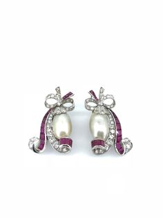 Art Deco Natural Pearl Ruby Diamond Scroll Earring Clips in Platinum. A Pair of Natural Saltwater Drop Pearls tucked inside scroll of baguette cut rubies and single cut diamonds. One Pearl tested as Natural Saltwater and another is Natural Art Deco Jewelry, Modern Jewelry, Vintage Jewelry, Handmade Jewelry, Diamond Solitaire Earrings, Diamond Jewelry, Diamond Necklaces, Gold Necklaces, Clip On Earrings