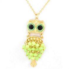 Neon Owl Pendant Long Necklace