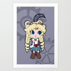 Steampunk Sailor Moon Art Print by CaptainLaserBeam - $15.00