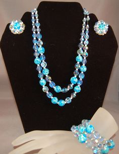 Magnificent RARE Hobe Lava Art Glass/Crystal Necklace, Bracelet and Earrings! #Hobe