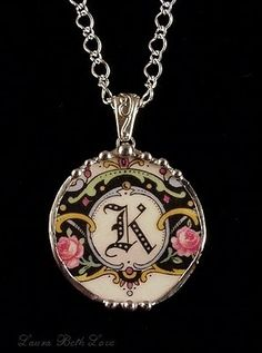 K initial broken china pendant necklace made from a broken antique plate - monogrammed china