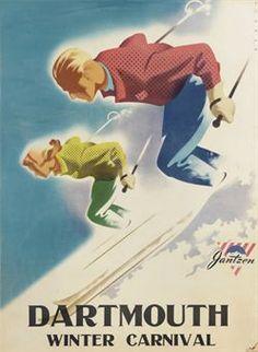 vintage ski poster - BINDER, Joseph (1898-1972)   DARTMOUTH WINTER CARNIVAL
