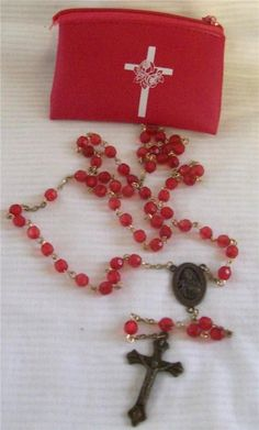 Catholic Rosary Vintage Red Beads Red Vinyl Pouch Metal Crucifix Cross