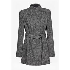 Rupert Tweed Waist Tie Jacket ($205) ❤ liked on Polyvore featuring outerwear, jackets, long sleeve jacket, tweed jacket, oversized jacket, fleece-lined jackets and tie waist jacket