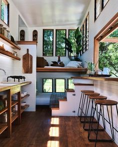 We absolutely love this tiny house design! Tag a fellow tiny … We absolutely love this tiny house design! Tag a fellow tiny house lover! Tiny House Living, Home Living Room, Cozy House, Tiny House Bedroom, Tiny House Loft, Off Grid Tiny House, Master Bedroom, Tiny House Plans, Tiny House Trailer Plans