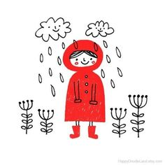 Il pleut jour  Print par HappyDoodleLand sur Etsy, $20.00
