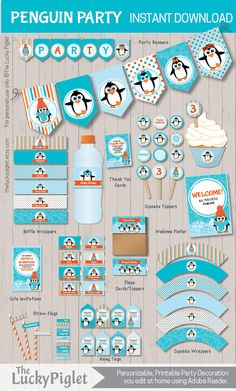 PENGUIN BIRTHDAY INVITATION and Party Decoration от TheLuckyPiglet