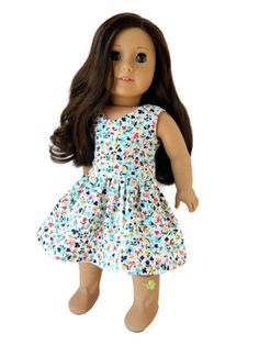 American Girl Doll Clothes - Floral Print Cotton Lisianthus Dress