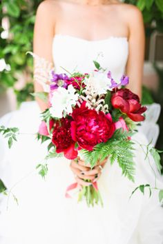 """{   WHIMSICAL FUCHSIA + PLUM WEDDING   }  """"Colorful and chic, with a bride that simply radiates style, Jackie and Keith's wedding at Hotel Bel-Air has left me breathless! Botany created the most stunning fuchsia floral crown and lush bouquet for Jackie—they perfectly complement her elegant Vera Wang gown."""""""