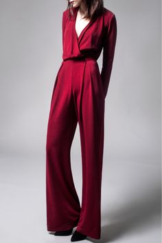 Yoana baraschi Apollo Burgundy Crepe Jumpsuit in Purple