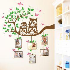 Wandtattoos - Wandtattoo  Eulen Ast mit Bilderrahmen (3farbig) - ein Designerstück von wandtattoo-loft bei DaWanda