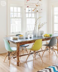Unbelievable Tips: Dining Furniture Makeover Fabrics rustic dining furniture design.Outdoor Dining Furniture How To Build. Style At Home, Dining Furniture, Dining Chairs, Eames Chairs, Room Chairs, Dining Table, Dining Area, Eames Eiffel Chair, Eames Style Dining Chair