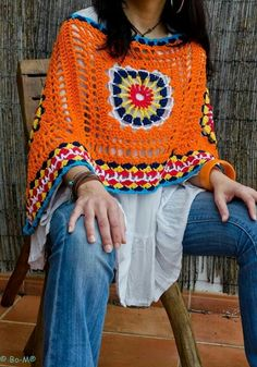 Me Love the style and crochet around the bottom.    Poncho (I'd change the colors though)